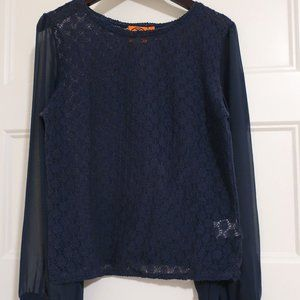 Tory Burch Navy Lace and Top With Sheer Sleeve - S